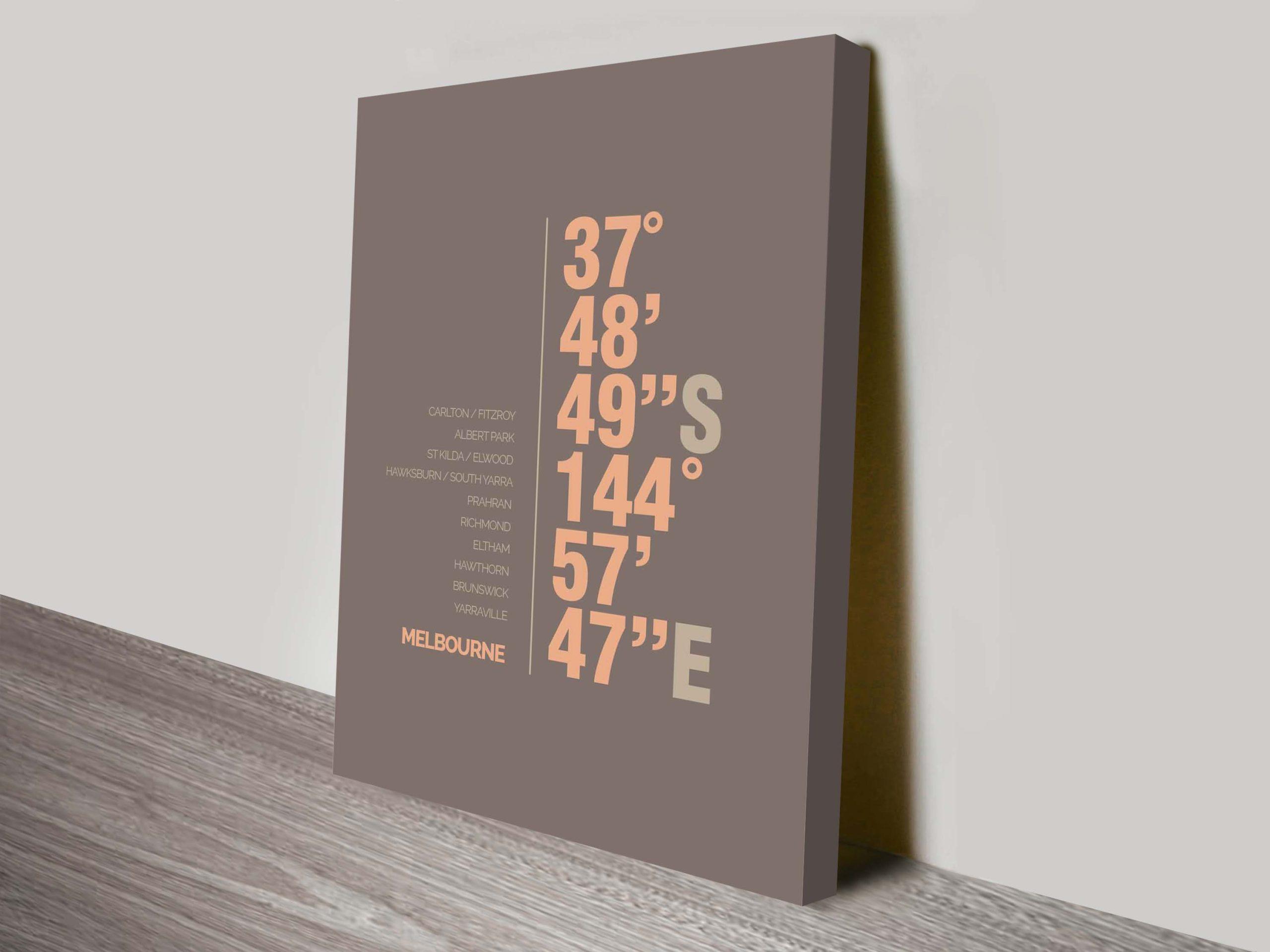 Melbourne Coordinates Canvas Art Print | Melbourne Brown Coordinates