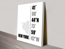 New York Coordinates white Wall Art
