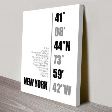 New York Coordinates white Wall Art | New York Coordinates White