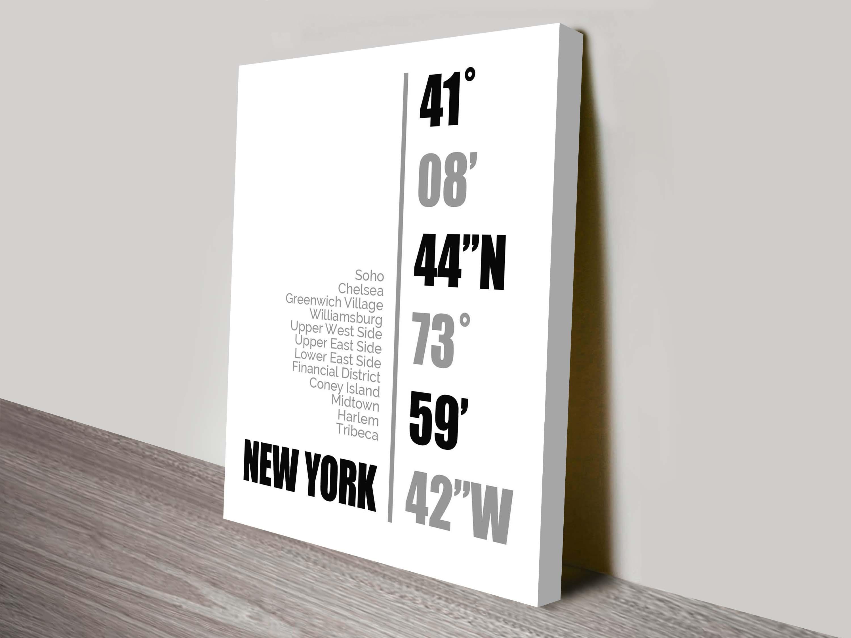 New York Coordinates white Wall Art   New York Coordinates White