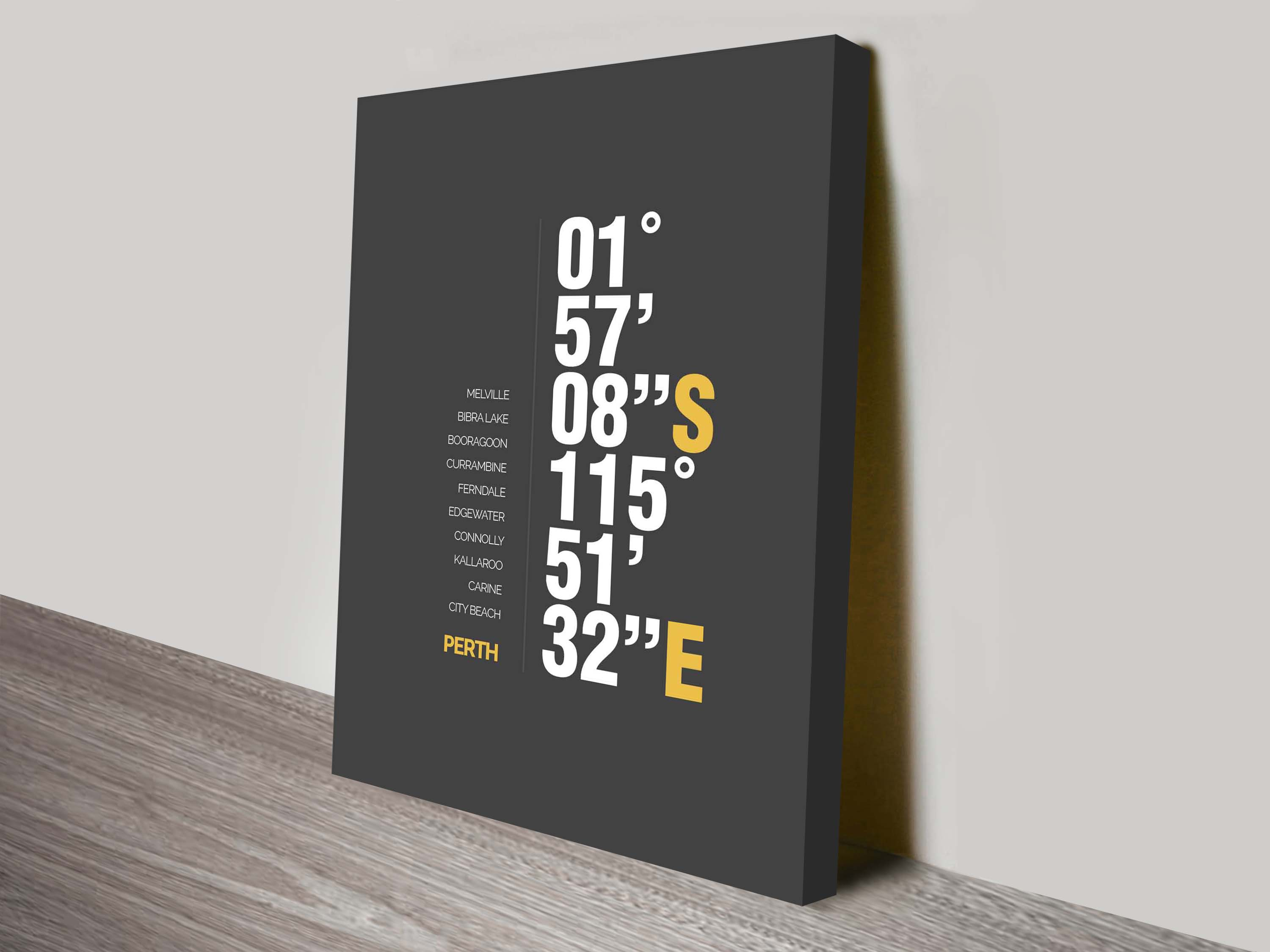 Perth Coordinates Canvas Print | Perth Charcoal Coordinates