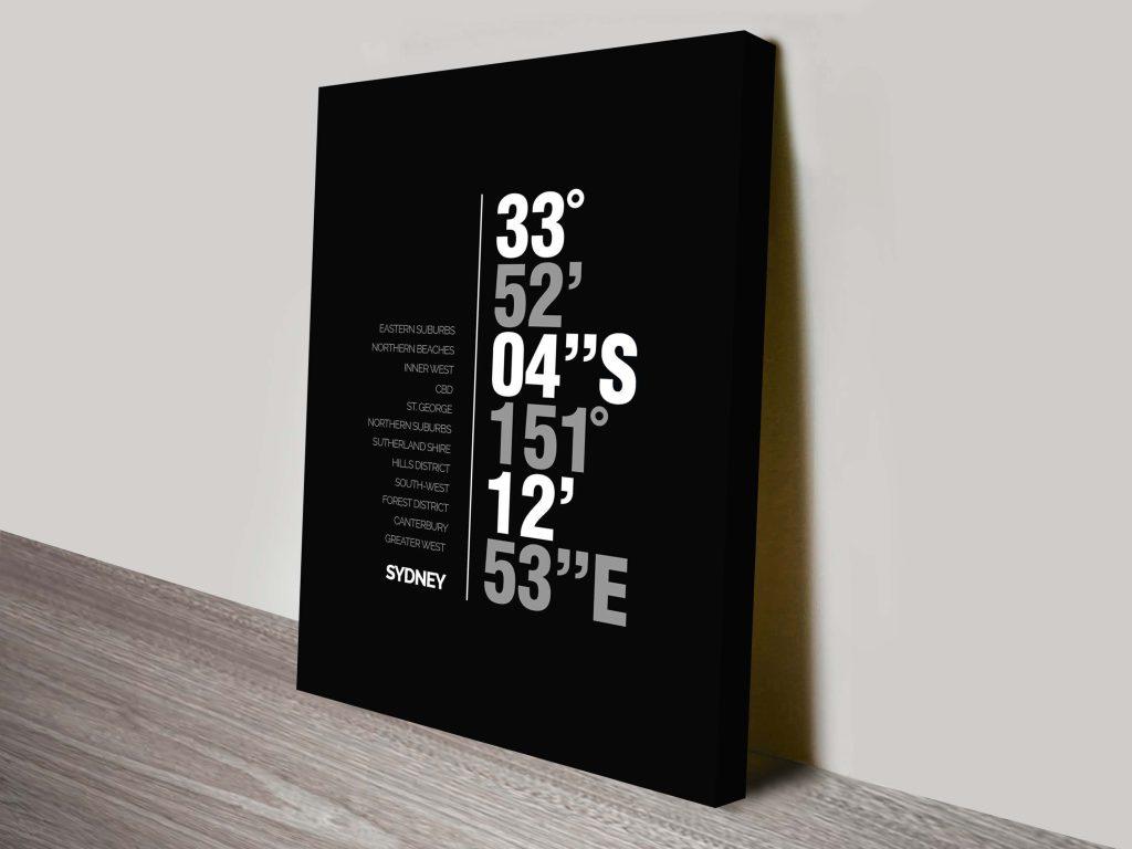 Sydney Coordinates Typography Artwork