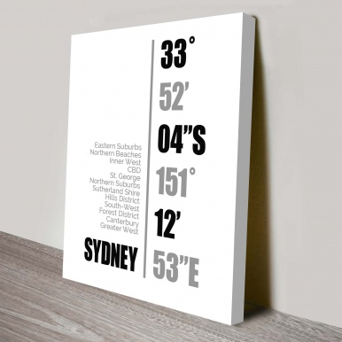 Sydney Coordinates Wall Canvas Online   Sydney Coordinates White