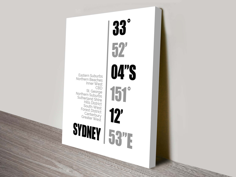 Sydney Coordinates Wall Canvas Online | Sydney Coordinates White