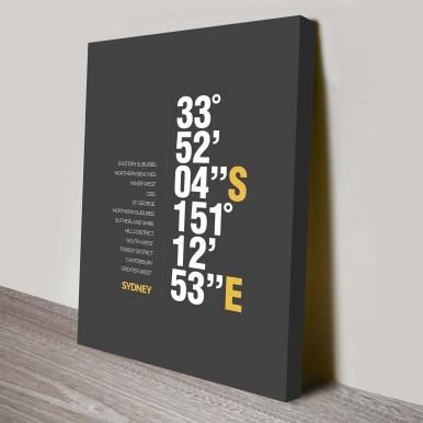 Sydney Coordinates custom art print | Sydney Coordinates 2