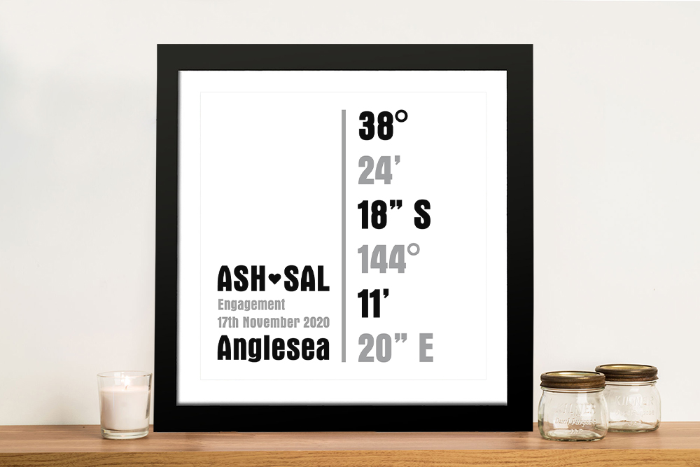 Personalised coordinates Framed Wall Art