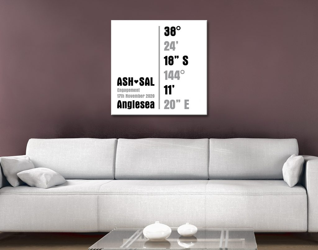 personalised coordinates canvas artwork