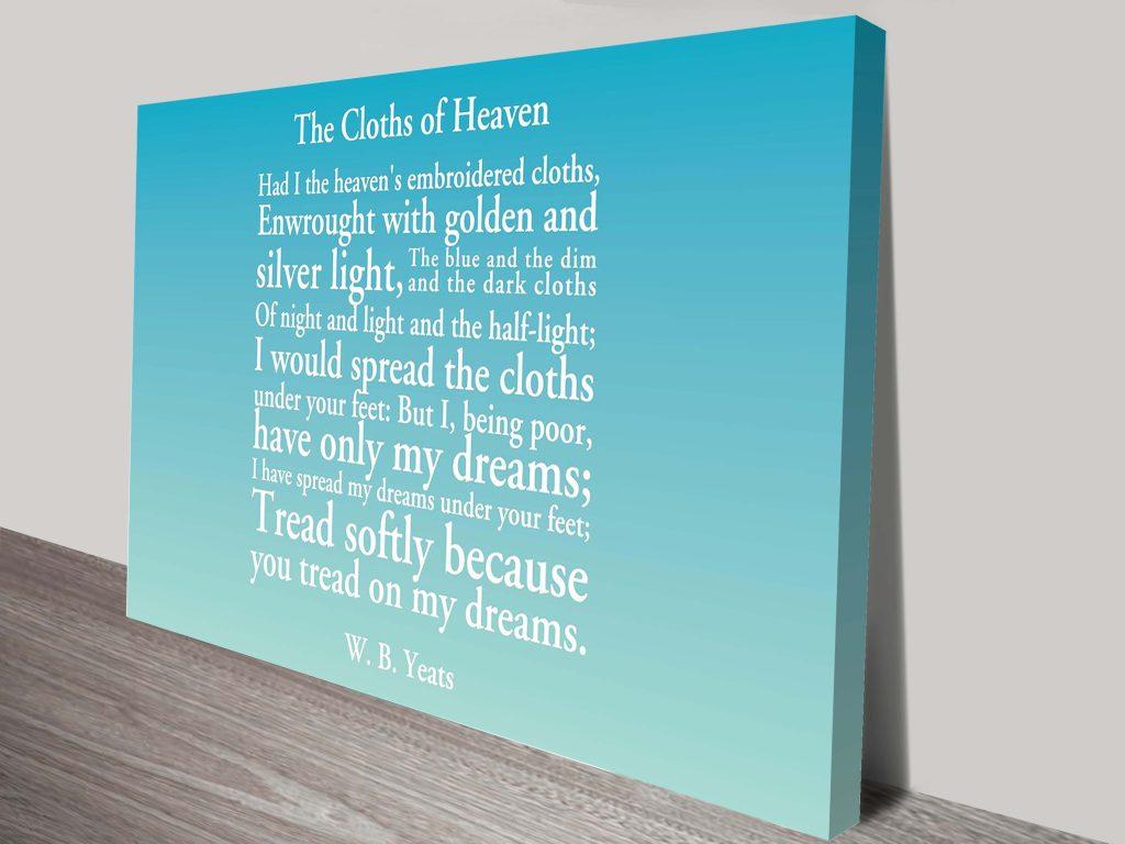 Personalised poem canvas print