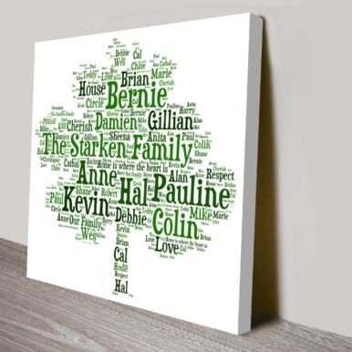 Bespoke Family Tree Canvas Word Art Australia | Family Tree Word Art