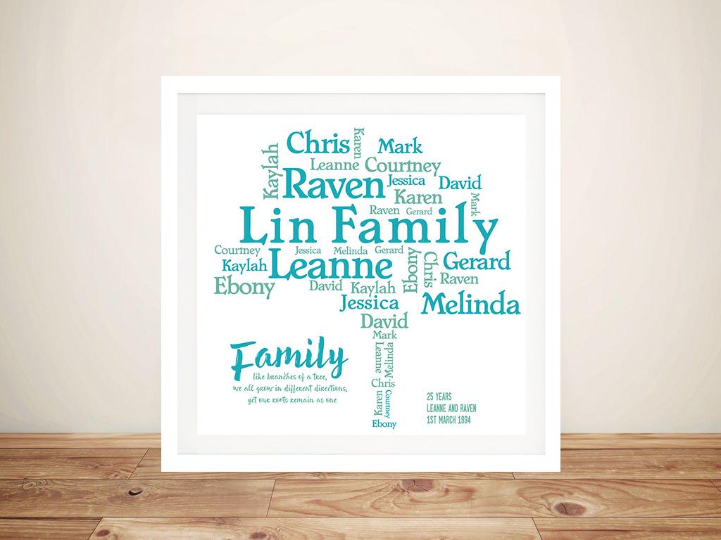 Family Tree Framed Wall Art | Family Tree Word Art