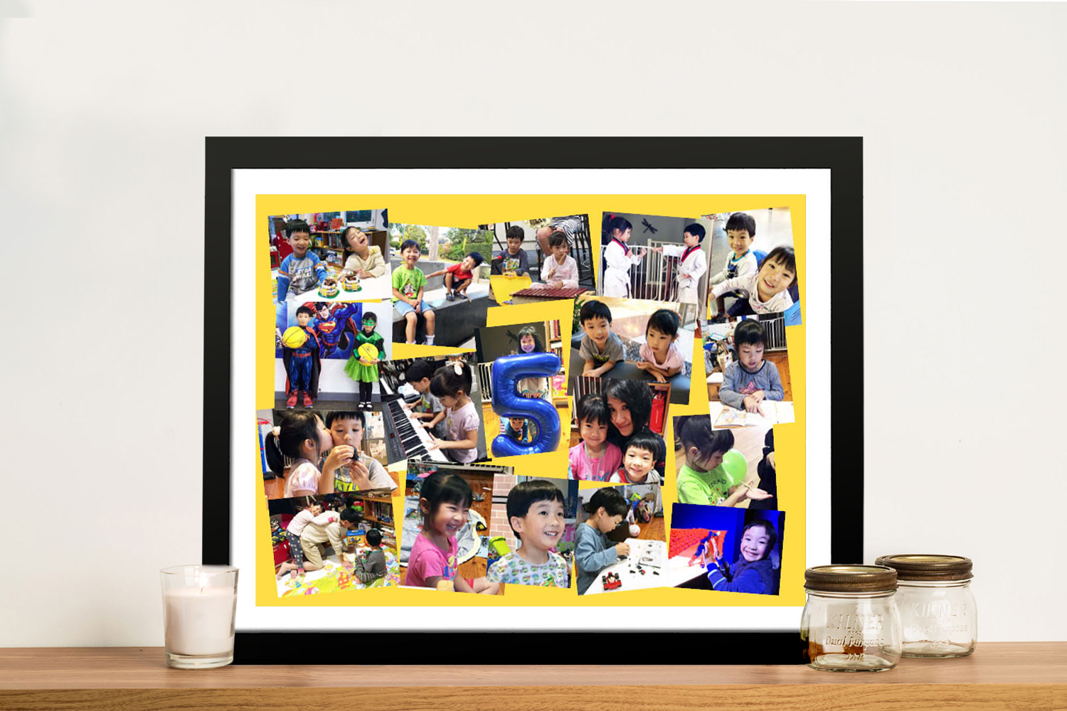 Angled Photo Collage Framed Wall Art   Angled with Colour Background