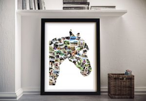 Horse Shape Collage Framed Wall Art