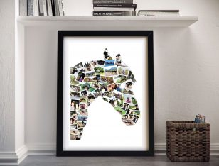 Horse Shape Collage Framed Wall Art