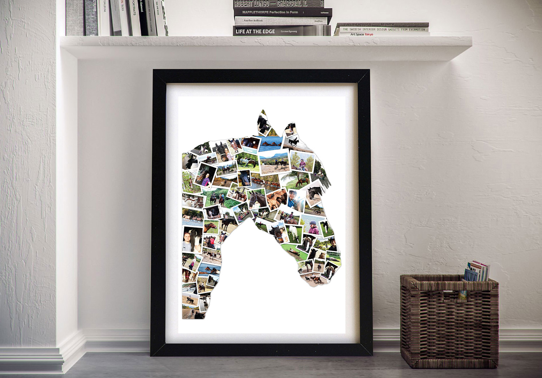 Horse Shape Collage Framed Wall Art | Custom Shape