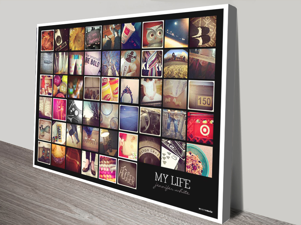 My life collage canvas print | Squares with Words