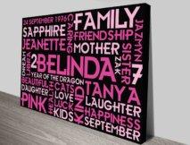 Girls Birthday Present Word Art Custom Canvas Print