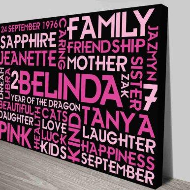 Girls Birthday Present Word Art Custom Canvas Print   Pretty in Pink