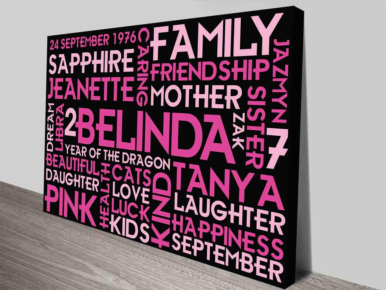 Girls Birthday Present Word Art Custom Canvas Print | Pretty in Pink