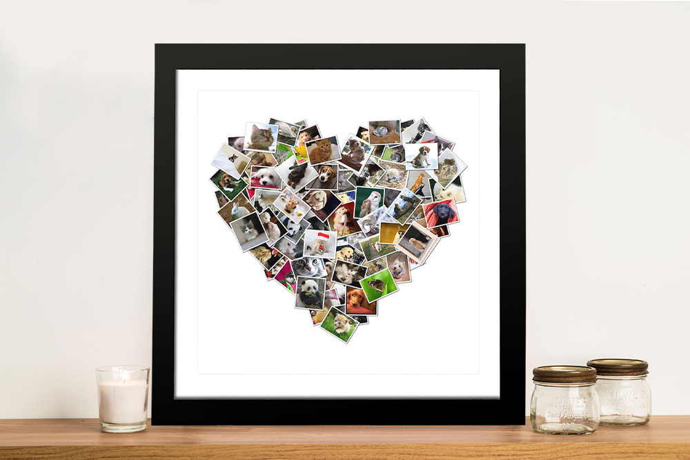 Heart Shaped Photo Collage Framed Wall Art