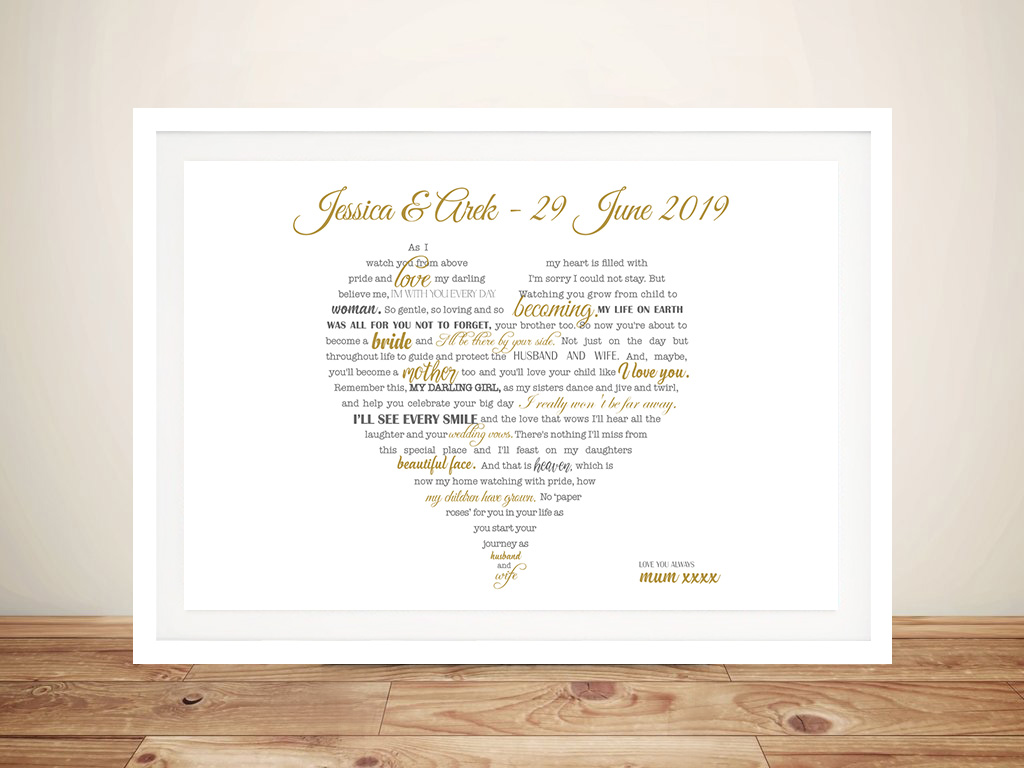 Framed Word Art Sydney | Scripted Hearts