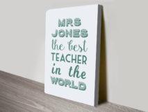 The Best Teacher in the World Word Art Gift