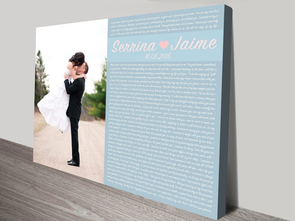Personalised Word Art Wedding Vowels