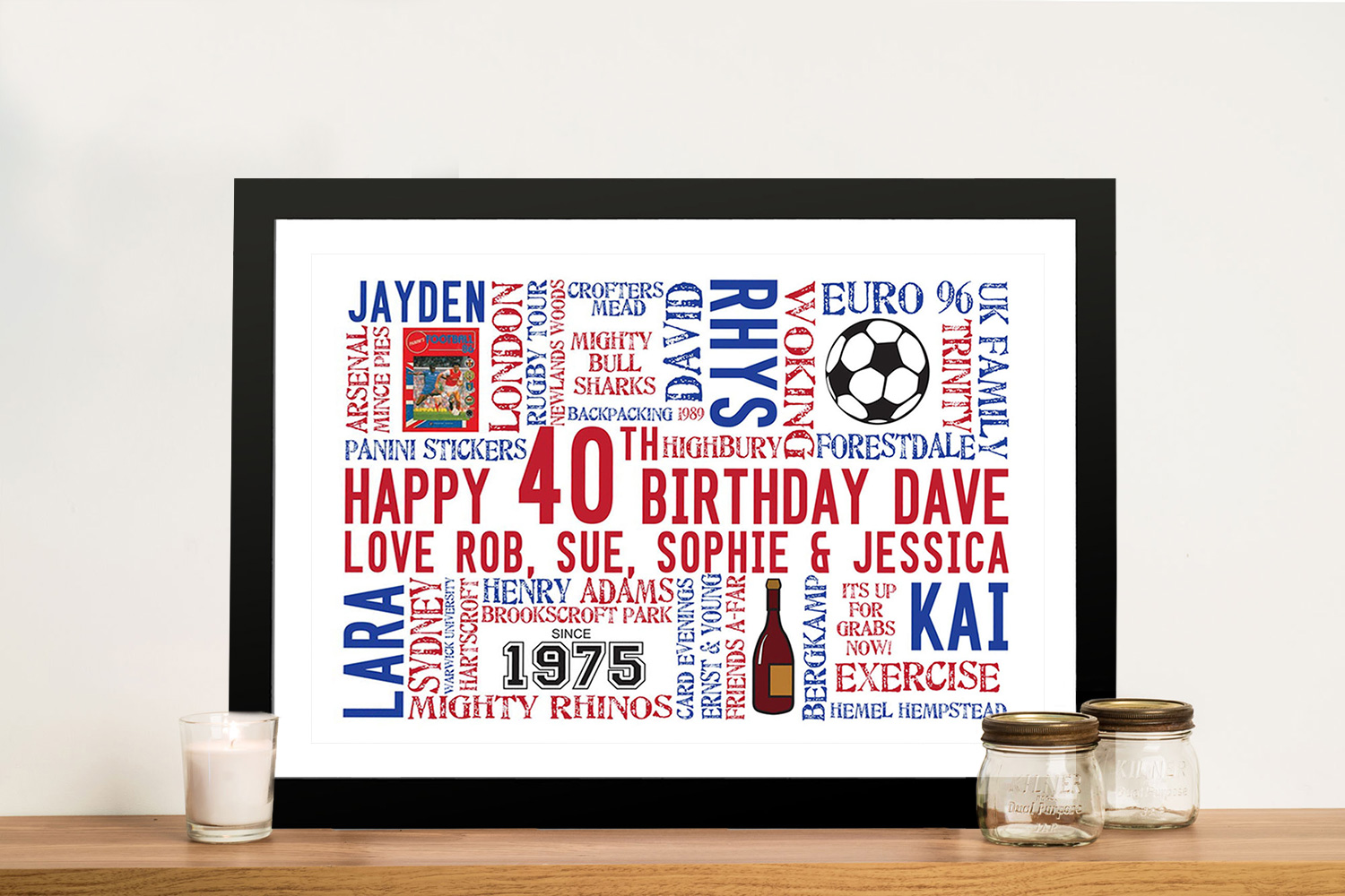 Custom birthday Framed Wall Art Gift | Coloured Clip Art