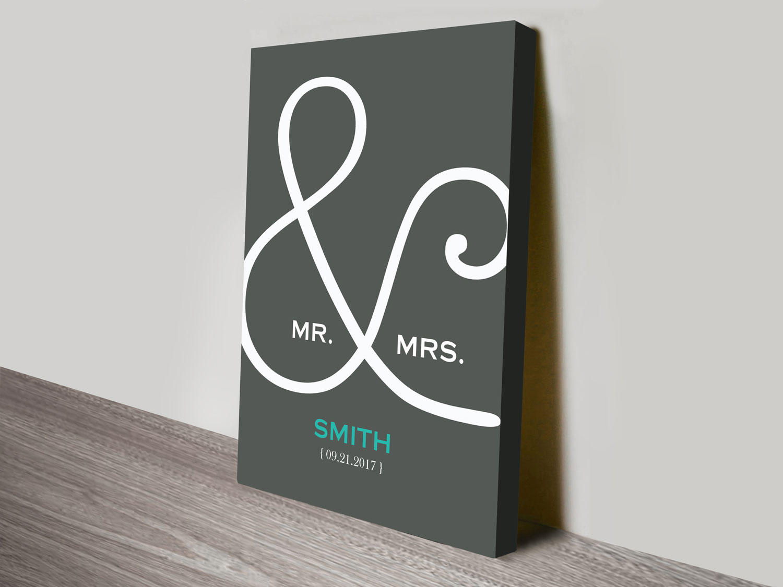 custom wedding canvas print | Mr & Mrs