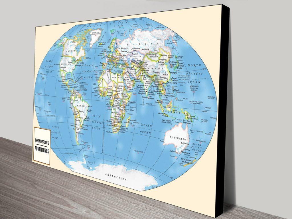 Personalised Push Pin World Travel Map Art Australia