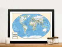 Adventurer Push Pin World Map Framed Art