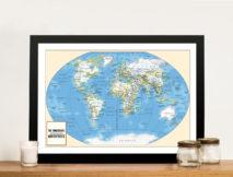 Adventurer Push Pin World Map Framed Art