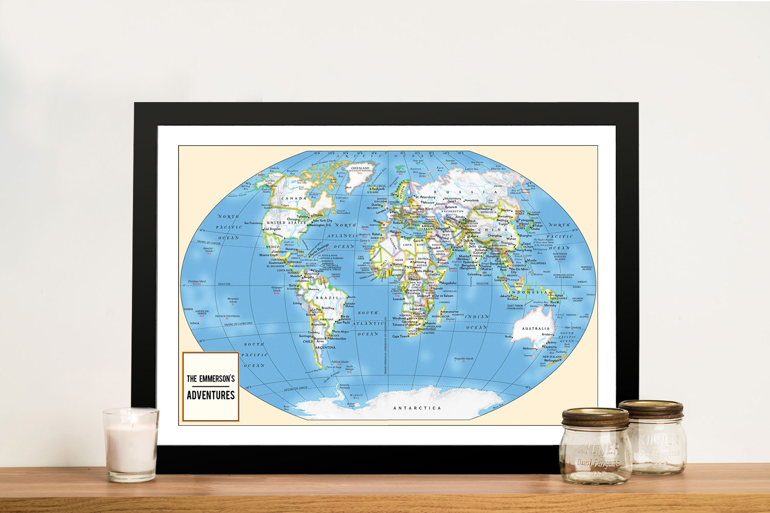 Adventurer Push Pin World Map Framed Art | Push Pin World Map – Adventurer