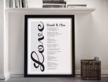 Personalised Song Lyrics Framed Word Art Australia