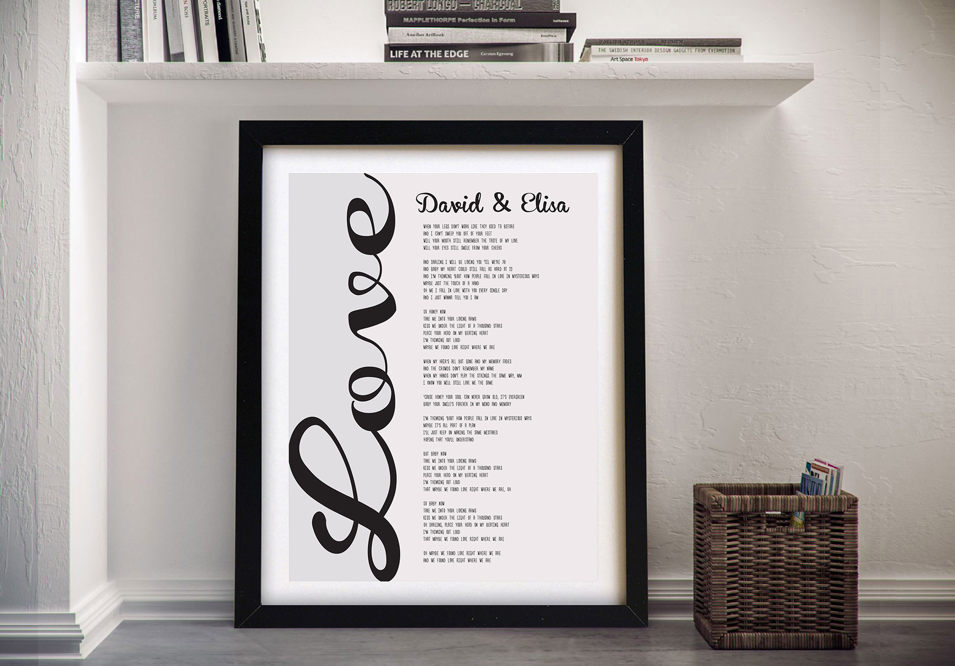 Personalised Song Lyrics Framed Word Art Australia | A Love Song