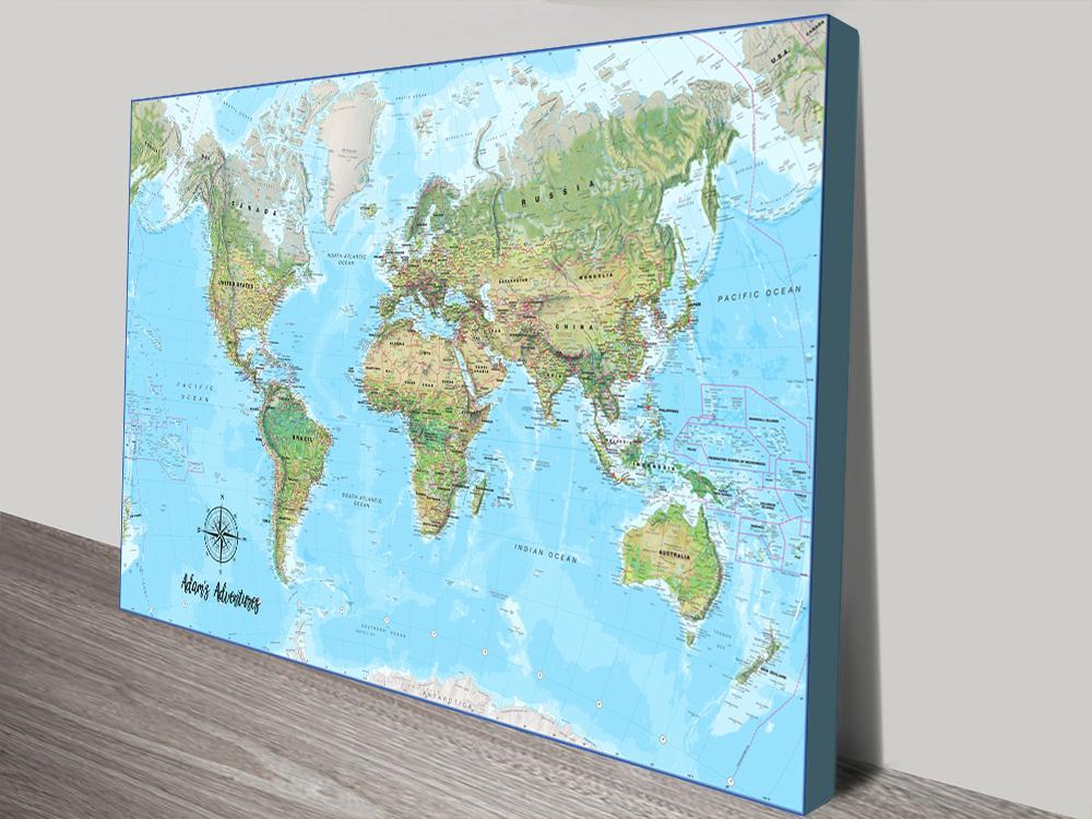 Affordable Personalised Atlantis Push Pin Map Art