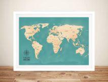 Aventuras Teal Push Pin World Map Framed Art