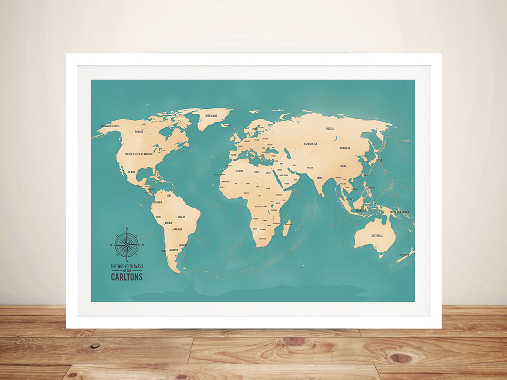 Teal green personalised word art push pin world travel map aventuras teal push pin world map framed art push pin world map aventuras gumiabroncs Image collections