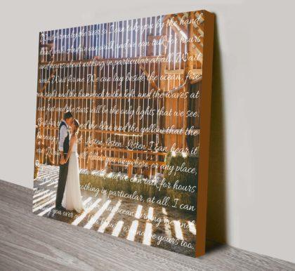 Photo & Words Personalised Canvas Bespoke Wall Art   Elegant Square Photo Text
