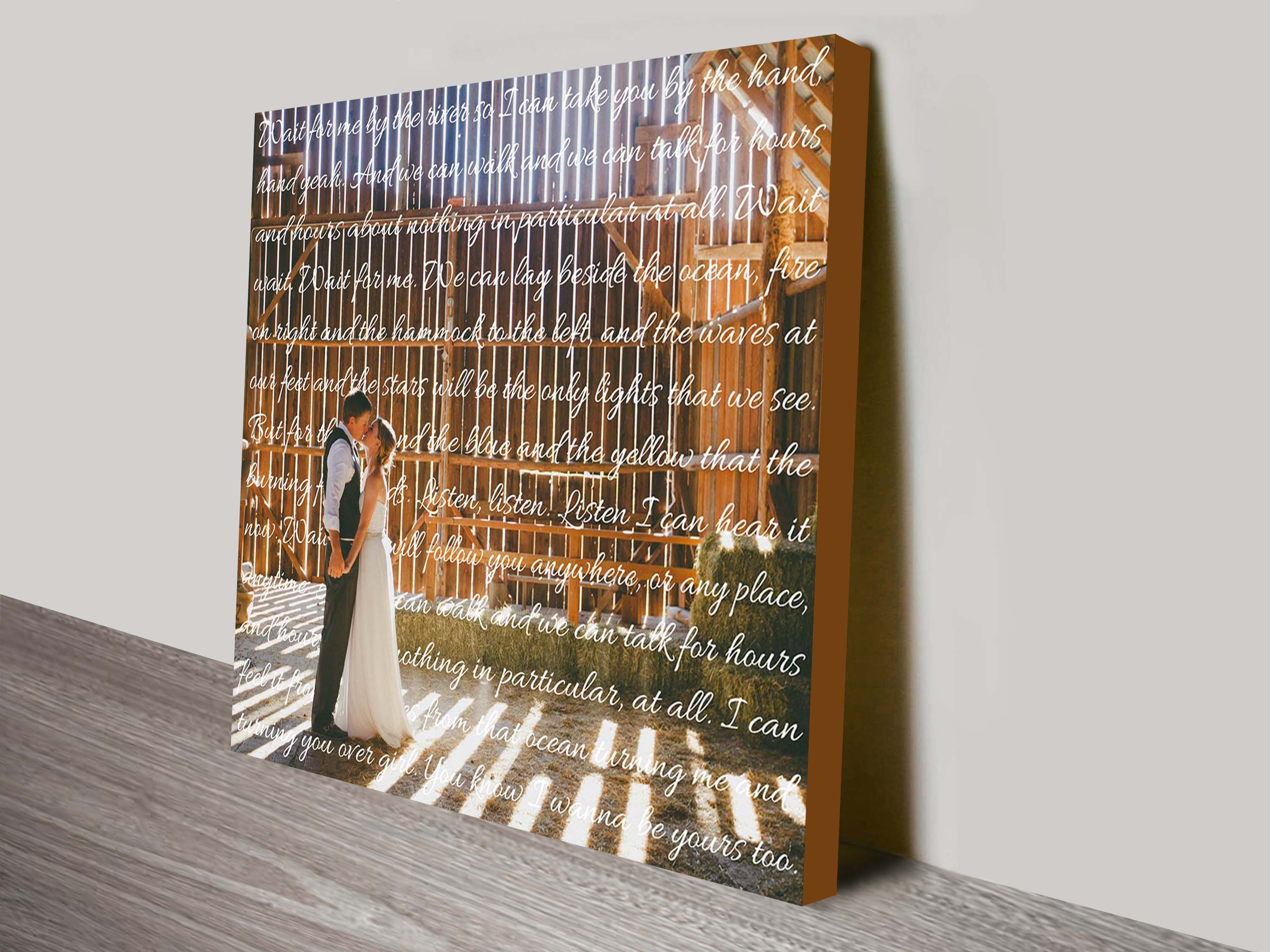 Photo & Words Personalised Canvas Bespoke Wall Art | Elegant Square Photo Text