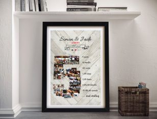 Photo Collage & Date Personalised Anniversary Word Art