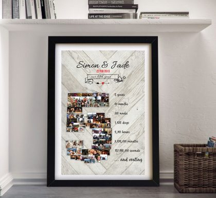 Photo Collage & Date Personalised Anniversary Word Art | Photo Anniversary Collage