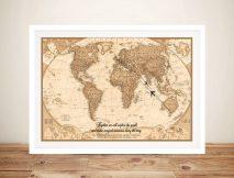 Typographic Push Pin World Map Canvas Framed Art