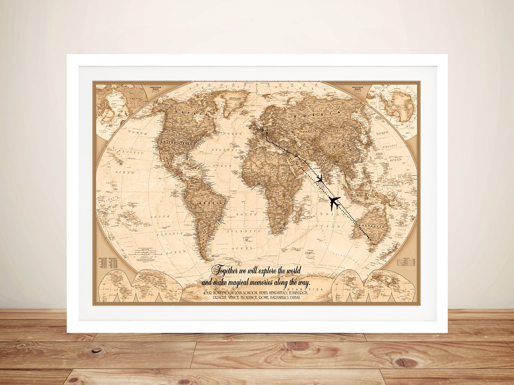 Typographic Push Pin World Map Canvas Framed Art | Push Pin World Map – Typographic