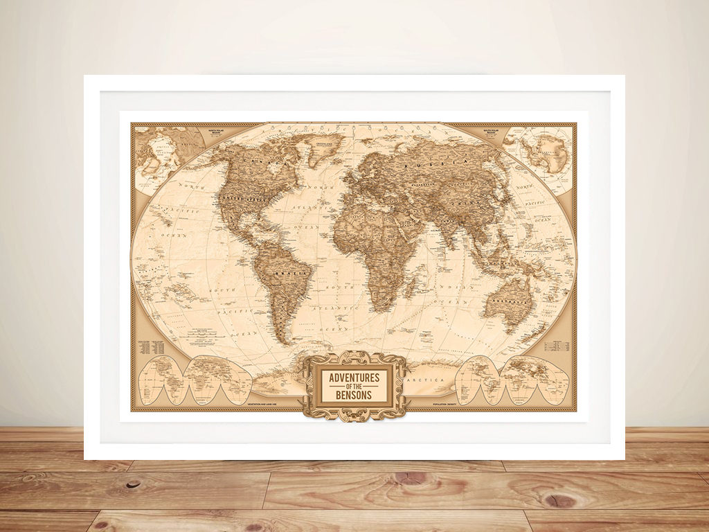 Personalised Adventures Push Pin World Map Framed Wall Art