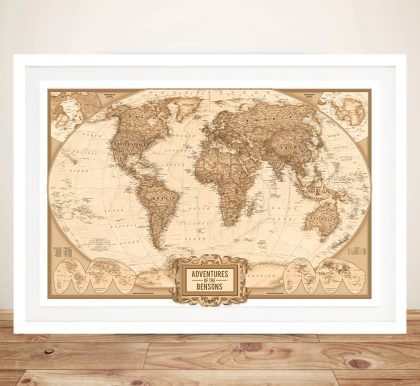 Personalised World Map Custom Canvas Wall Art