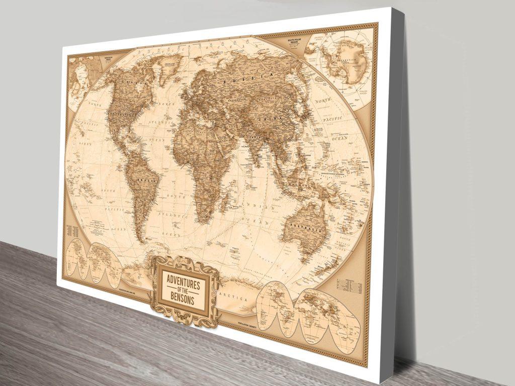 Custom Adventures Push Pin World Map Custom Canvas Wall Art