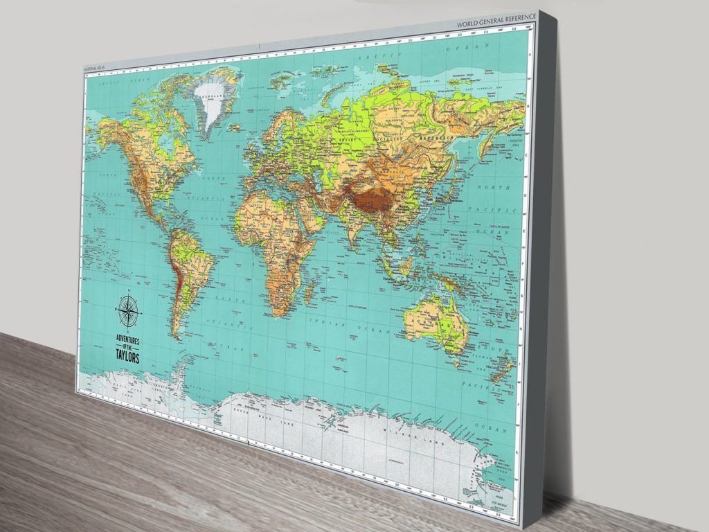 Custom Explorer Push Pin World Map Canvas Picture