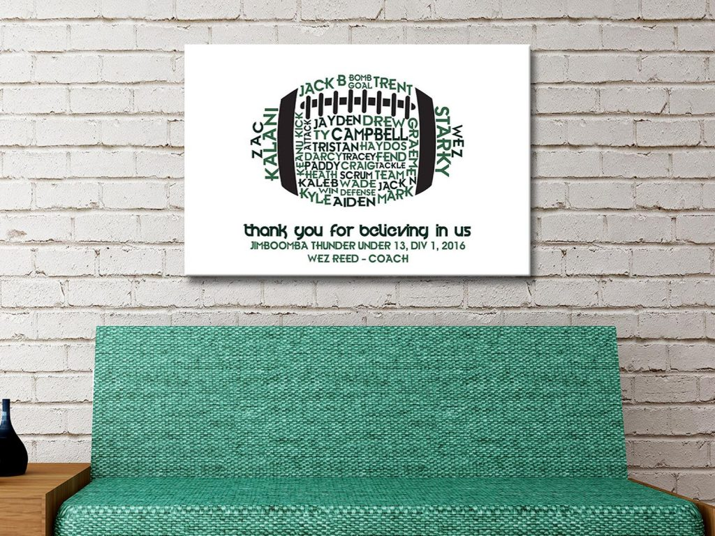 Personalised Rugby Ball Canvas Artwork