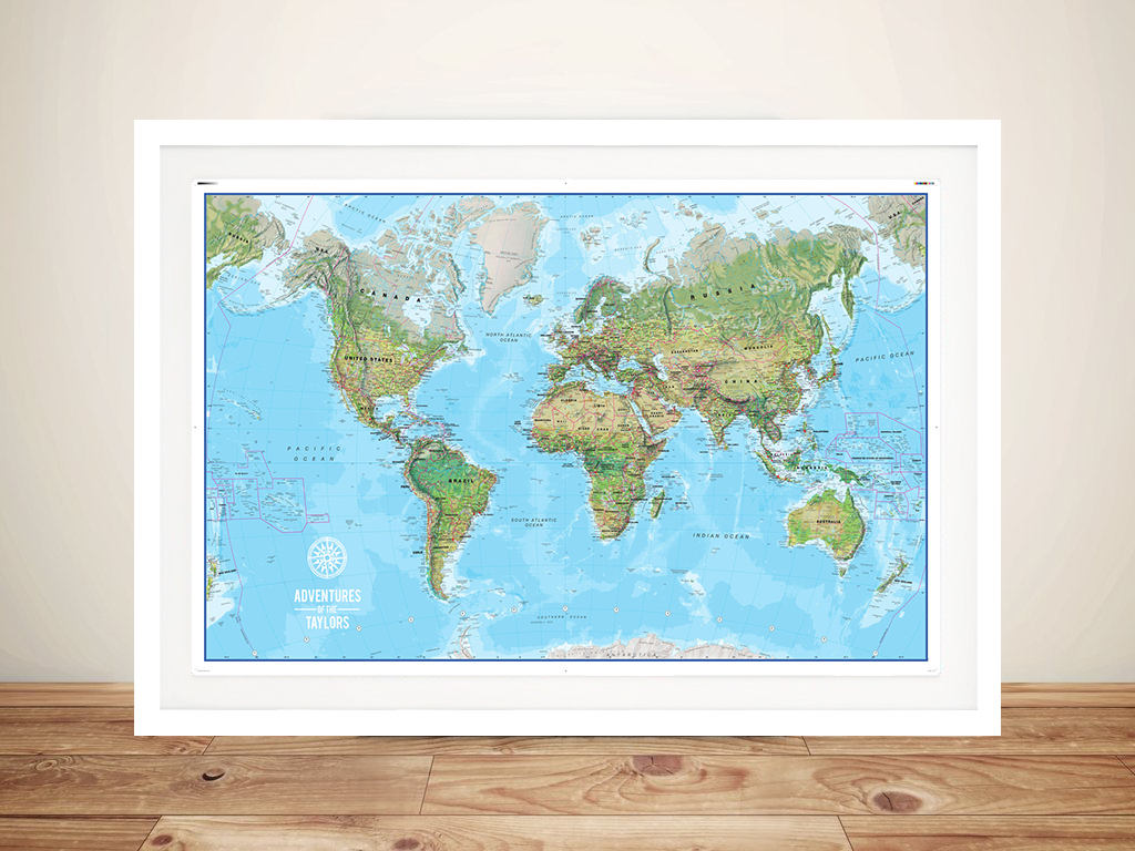 Personalised Push Pin World Map Canvas Art Print Australia | *Push Pin World Map – Atlantis