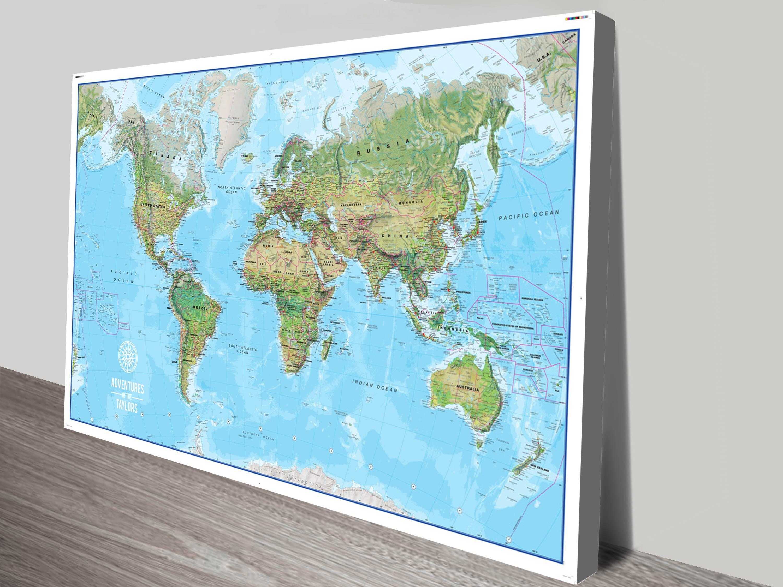 Personalised push pin world map canvas art print australia taylors adventure map canvas print gumiabroncs Choice Image